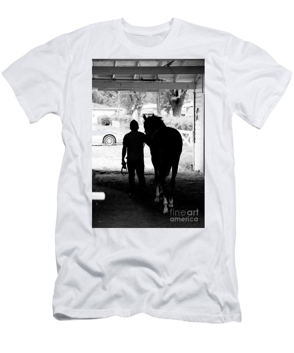 Arlington Park Men's T-Shirt (Athletic Fit) featuring the photograph Morning Walker by David Bearden