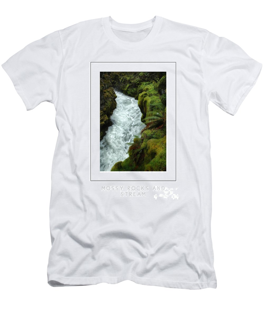 Rocks Men's T-Shirt (Athletic Fit) featuring the photograph Mossy Rocks And Stream Poster by Mike Nellums