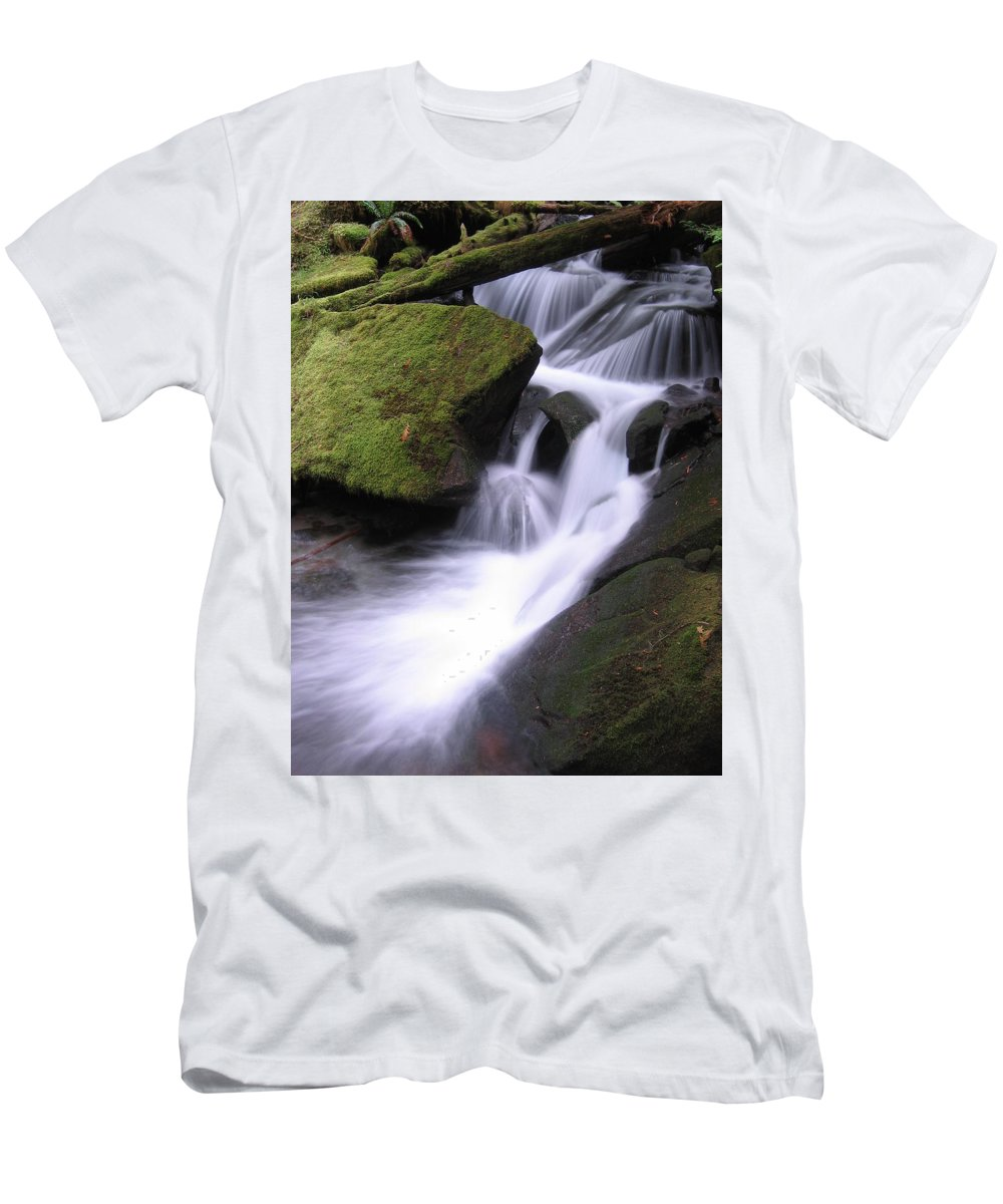 Waterfall Men's T-Shirt (Athletic Fit) featuring the photograph Mossy Waterfall by BC Scenery