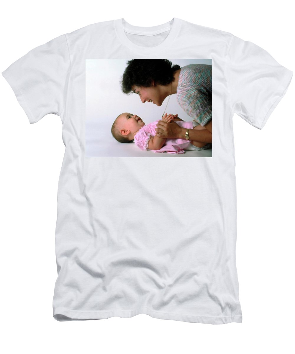 Mother Men's T-Shirt (Athletic Fit) featuring the photograph Mother And Baby Girl Smiling by Sally Weigand