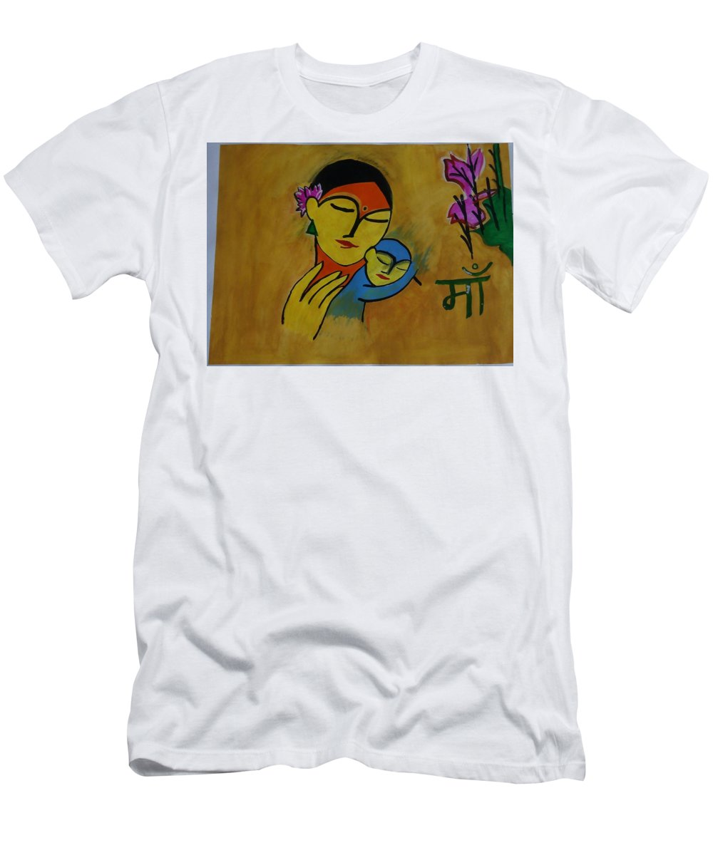 Mother - Maa In Hindi From India Men's T-Shirt (Athletic Fit) featuring the painting Mother by Devendra Pratap Singh