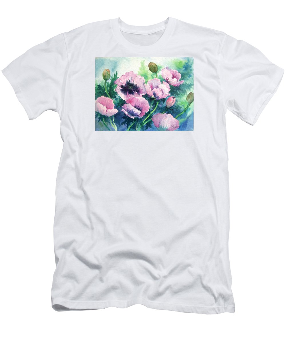 Poppies;floral;flowers;pink;garden; Men's T-Shirt (Athletic Fit) featuring the painting Mother's Prize Poppies by Lois Mountz