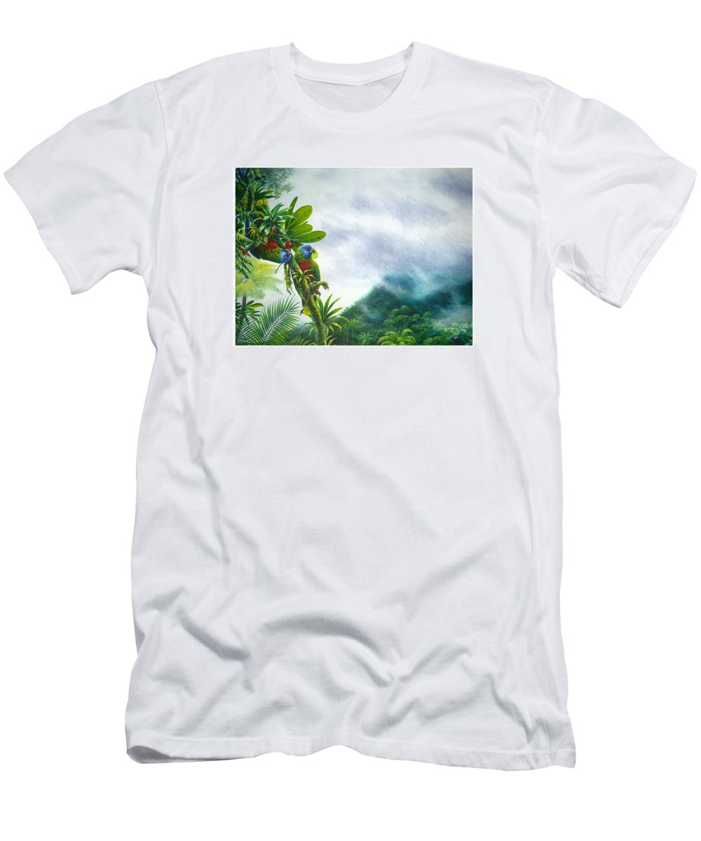 Chris Cox T-Shirt featuring the painting Mountain High - St. Lucia Parrots by Christopher Cox