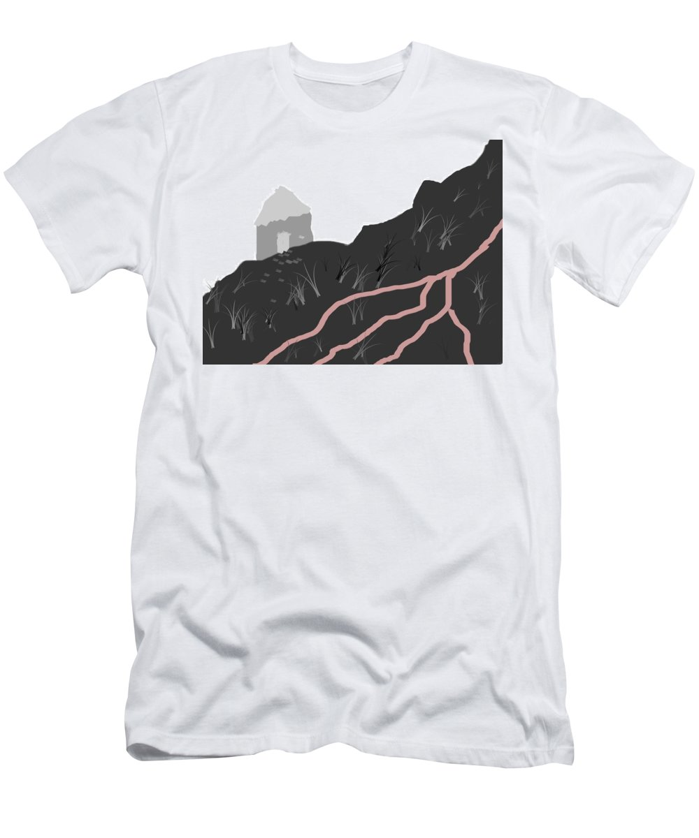 Mount In White And Black Men's T-Shirt (Athletic Fit) featuring the digital art Mountain by Hwawer