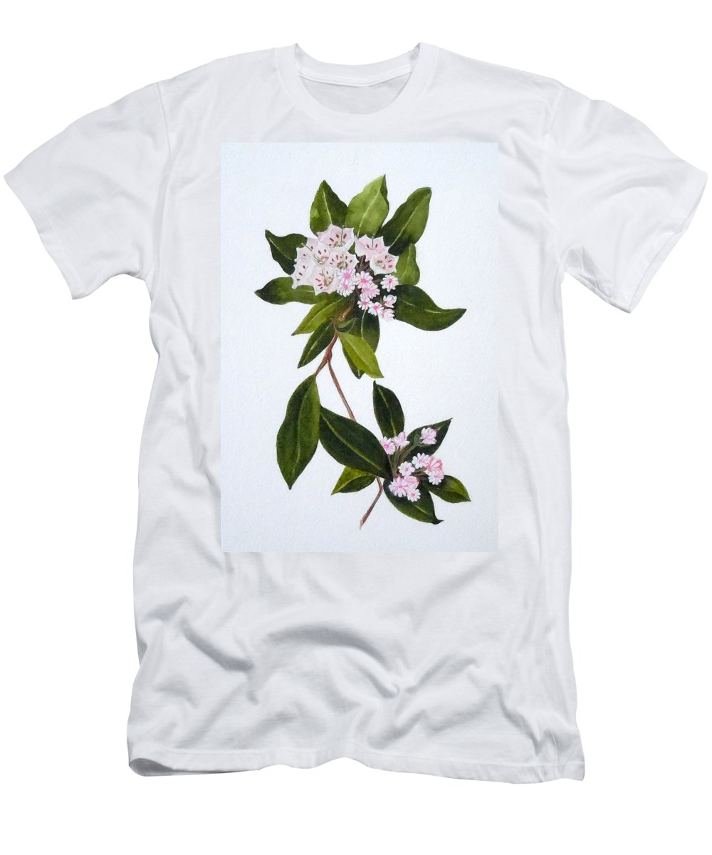 Mountain Laurel T-Shirt featuring the painting Mountain Laurel by Jean Blackmer