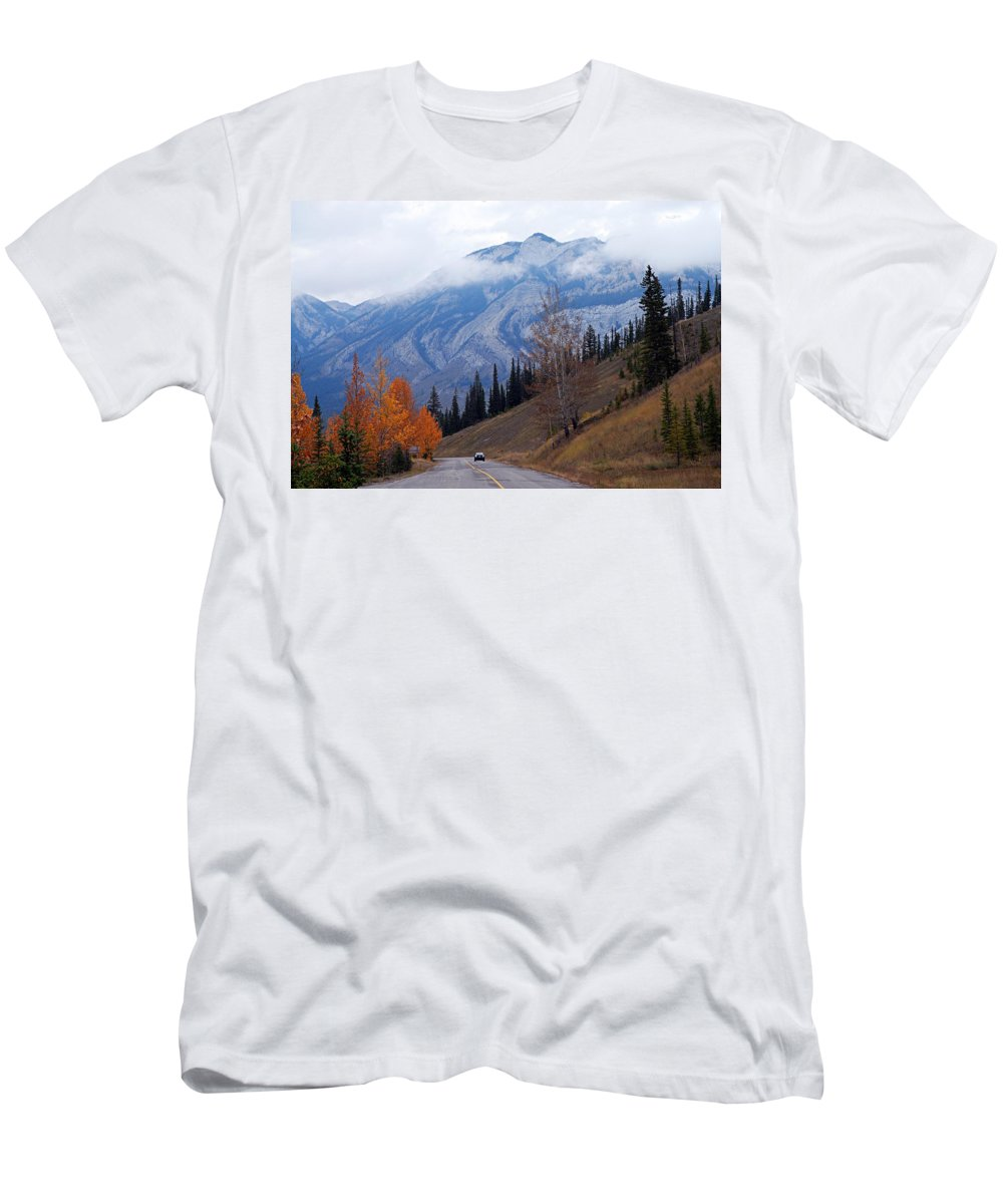 Jasper National Park Men's T-Shirt (Athletic Fit) featuring the photograph Mountain Road by Larry Ricker