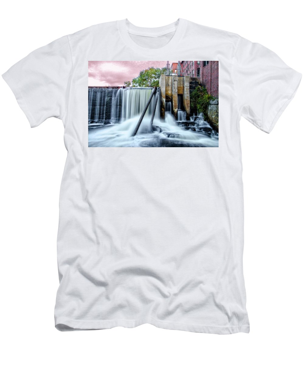 Mousam Men's T-Shirt (Athletic Fit) featuring the photograph Mousam River Waterfall In Kennebunk Maine by Bill Cannon