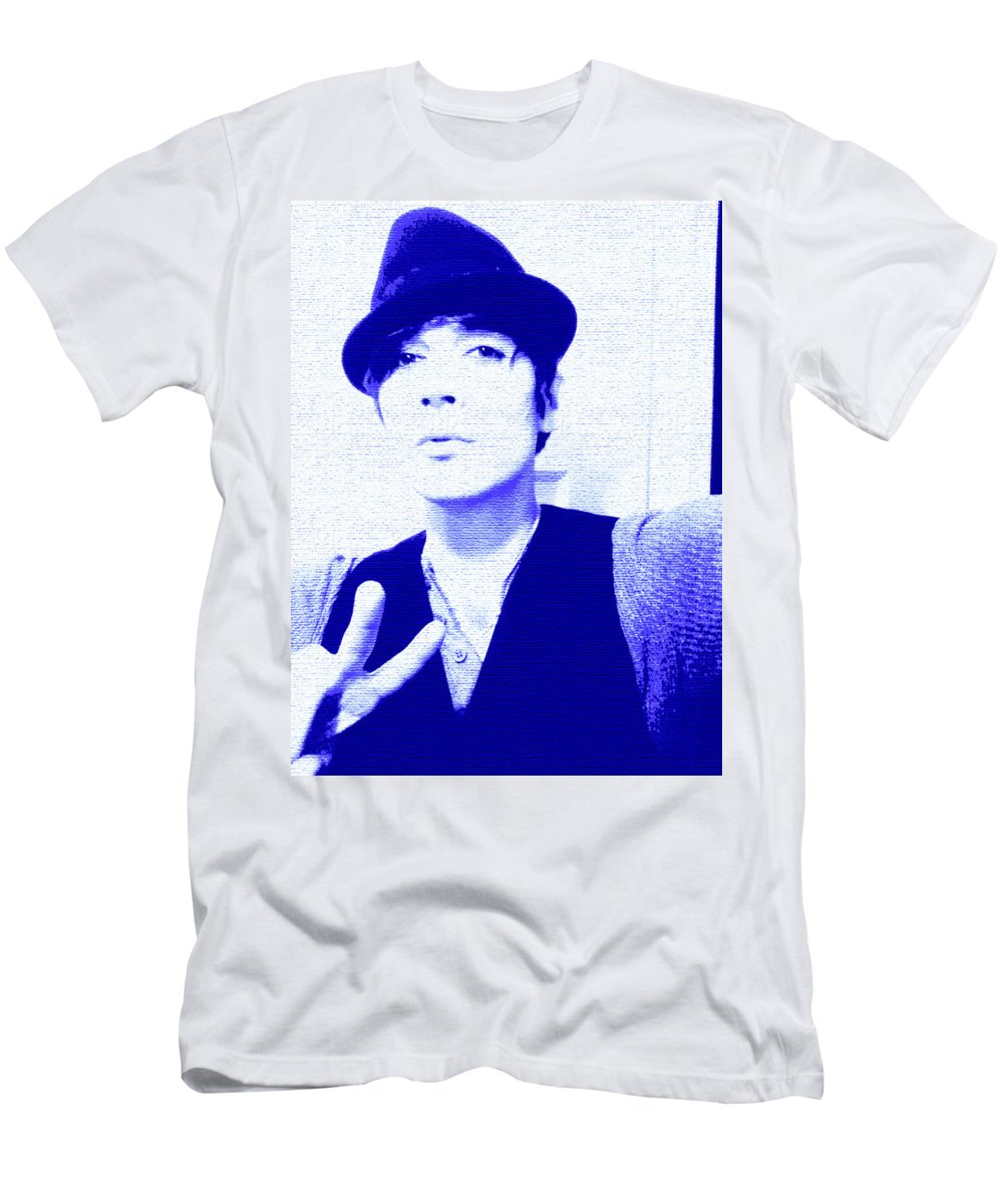 Moveonart! New York / San Francisco / Oklahoma / Portland / Missoula Jacob Kanduch Men's T-Shirt (Athletic Fit) featuring the digital art Moveonart Jacob Blue by Jacob Kanduch