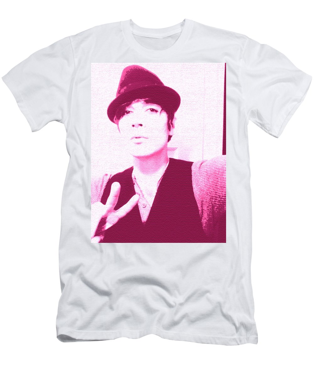 Moveonart! New York / San Francisco / Oklahoma / Portland / Missoula Jacob Kanduch Men's T-Shirt (Athletic Fit) featuring the digital art Moveonart Jacob Pink by Jacob Kanduch