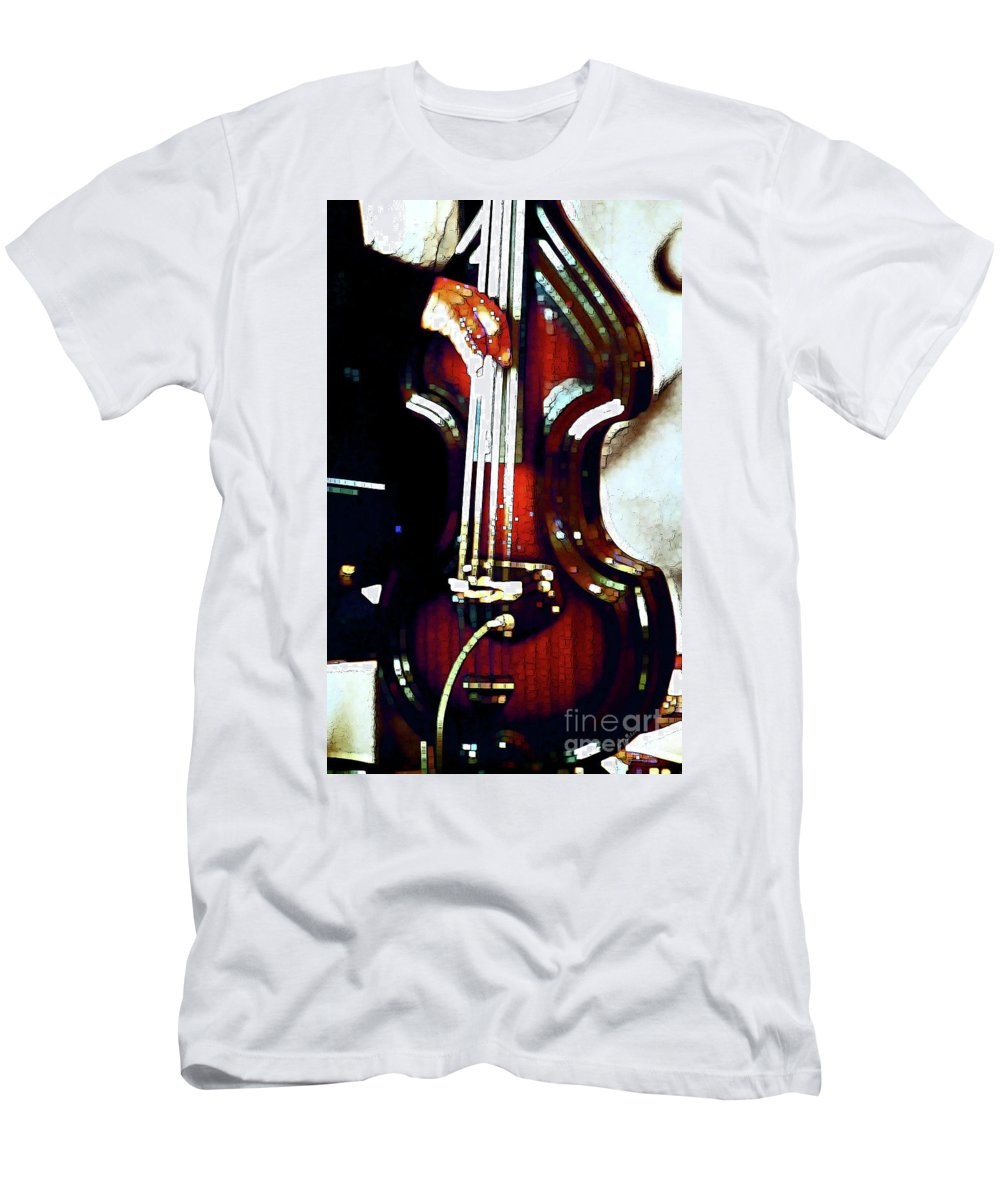 Abstract Men's T-Shirt (Athletic Fit) featuring the photograph Music Man Bass Violin by Linda Parker