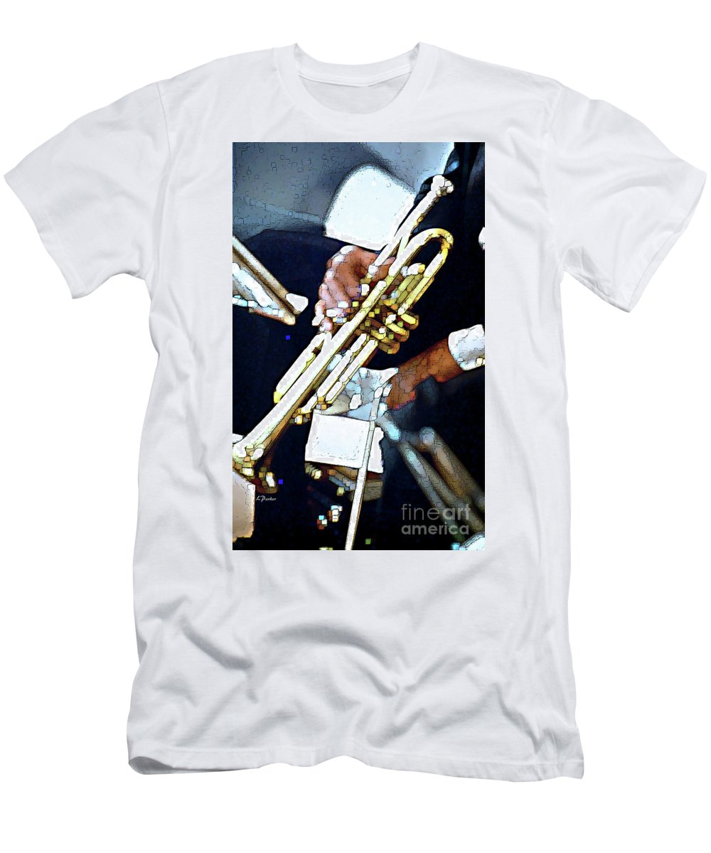 Abstract Men's T-Shirt (Athletic Fit) featuring the photograph Music Man Trumpet by Linda Parker