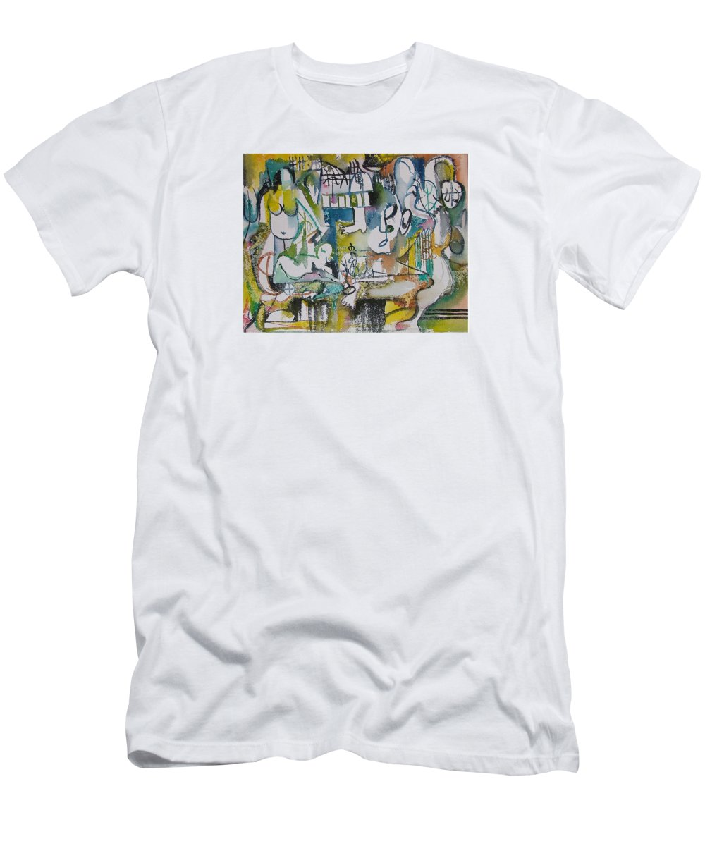 Music Men's T-Shirt (Athletic Fit) featuring the painting Musical Abstraction by Rita Fetisov