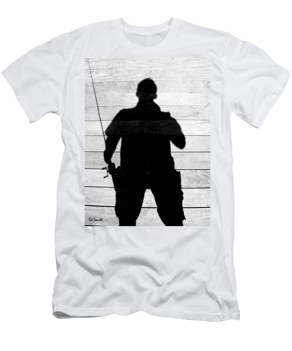 My Fishing Buddy Men's T-Shirt (Athletic Fit) featuring the photograph My Fishing Buddy by Edward Smith