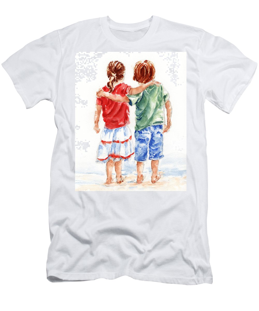 Watercolour Men's T-Shirt (Athletic Fit) featuring the painting My Friend by Stephie Butler