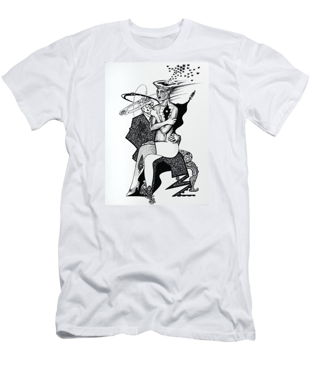 Love Men's T-Shirt (Athletic Fit) featuring the drawing My Shadow And I by Yelena Tylkina