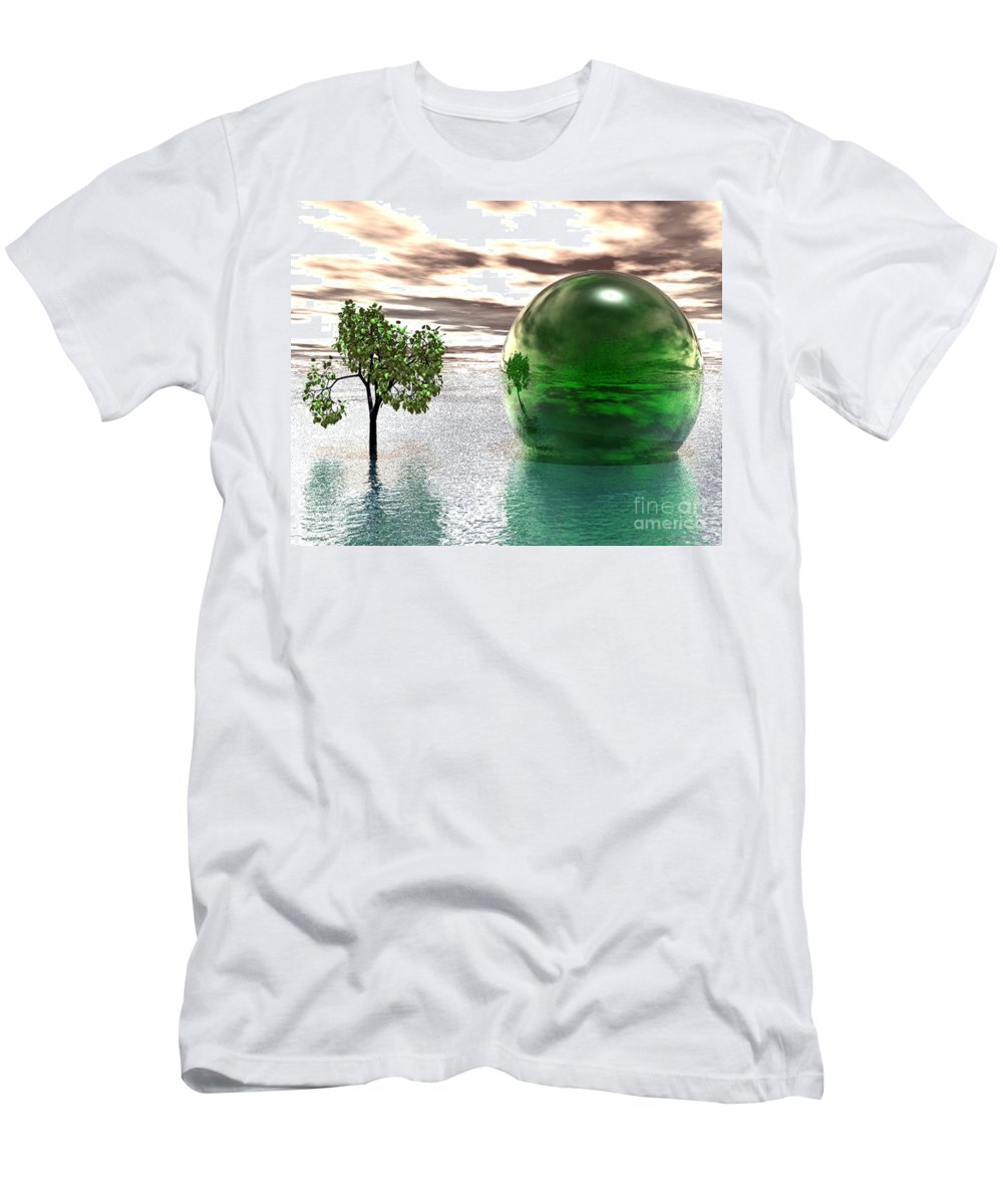 Surreal Men's T-Shirt (Athletic Fit) featuring the digital art Mystic Surreal In Green by Oscar Basurto Carbonell