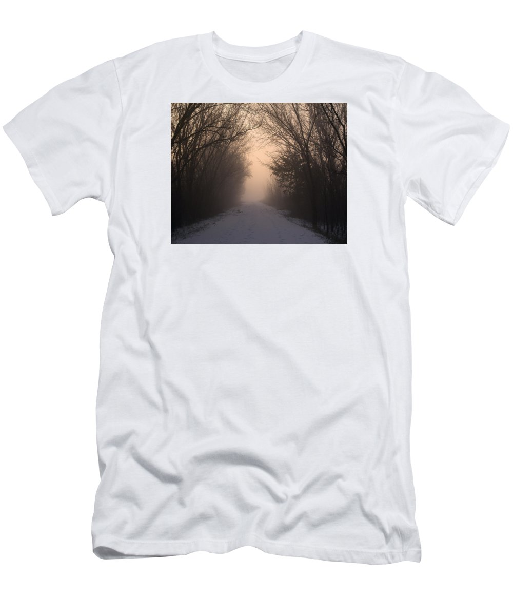 Sunrise Men's T-Shirt (Athletic Fit) featuring the photograph Mystic Trail by Pamela Peters