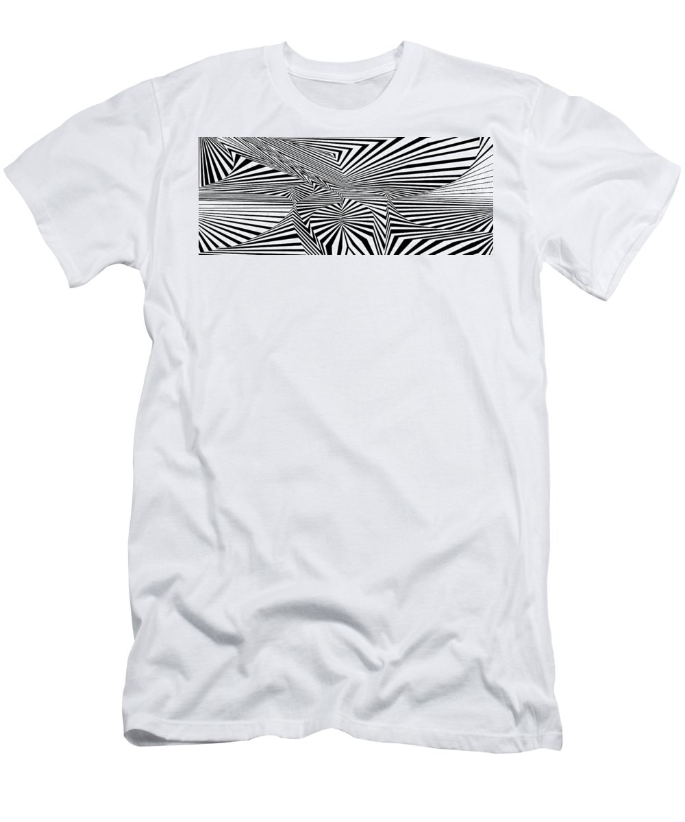 Dynamic Black And White Men's T-Shirt (Athletic Fit) featuring the painting Namteiuqeht by Douglas Christian Larsen