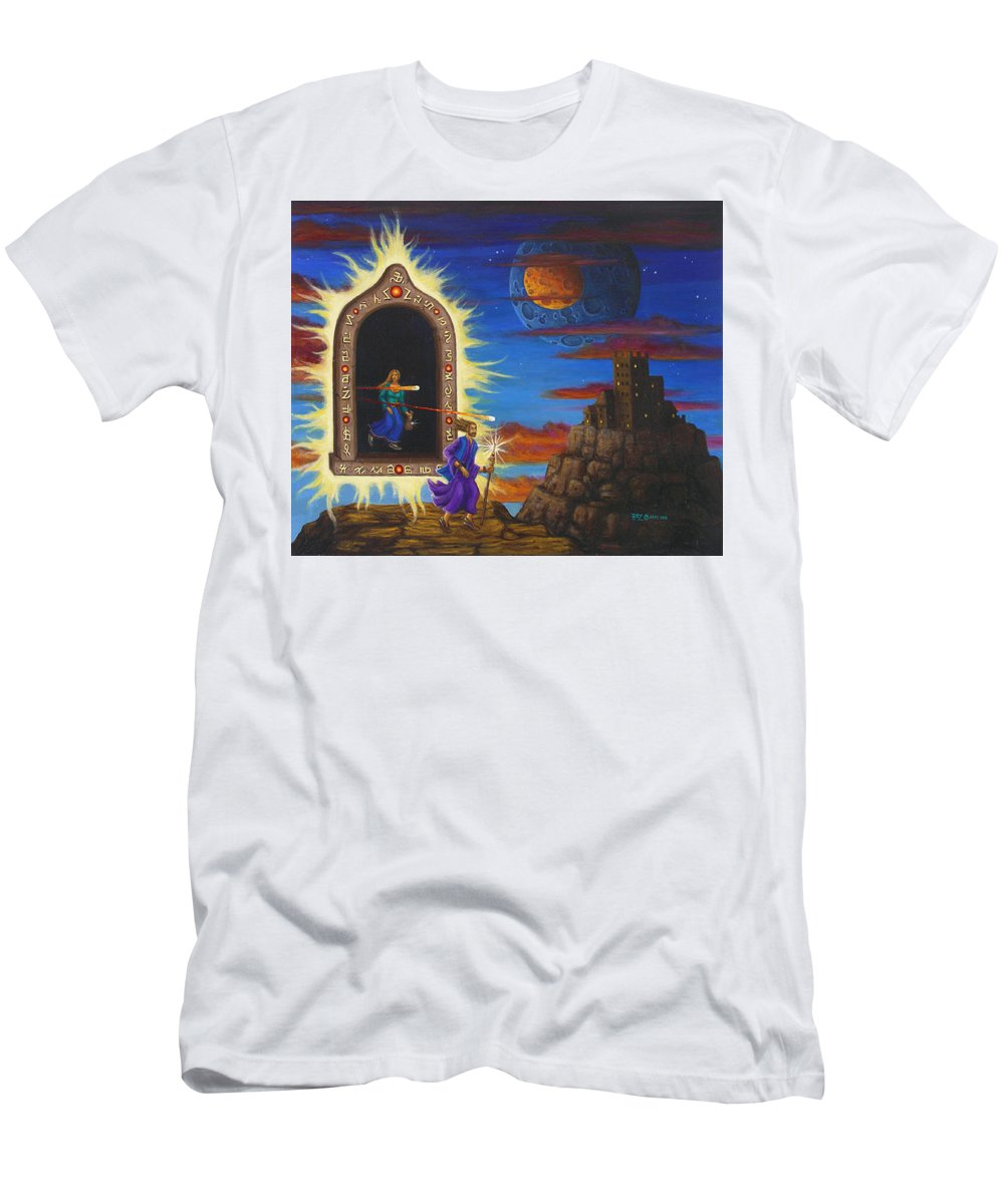 Fantasy Men's T-Shirt (Slim Fit) featuring the painting Narrow Escape by Roz Eve