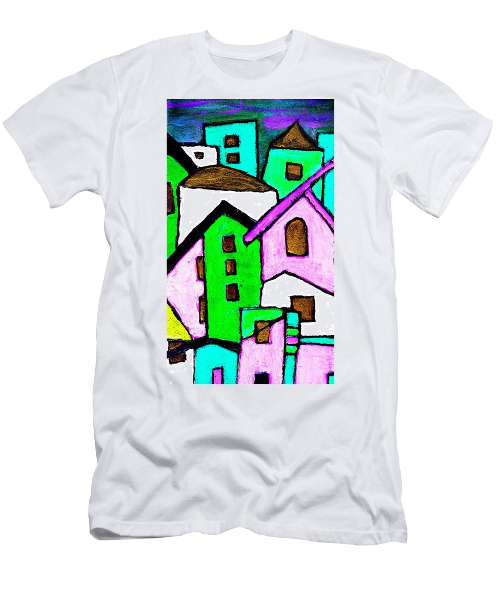 Village Men's T-Shirt (Athletic Fit) featuring the painting Narrow Village by Wayne Potrafka