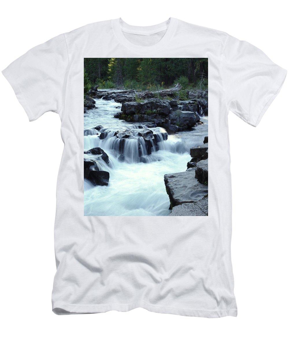 Waterfall Men's T-Shirt (Athletic Fit) featuring the photograph Natural Bridges Falls 03 by Peter Piatt