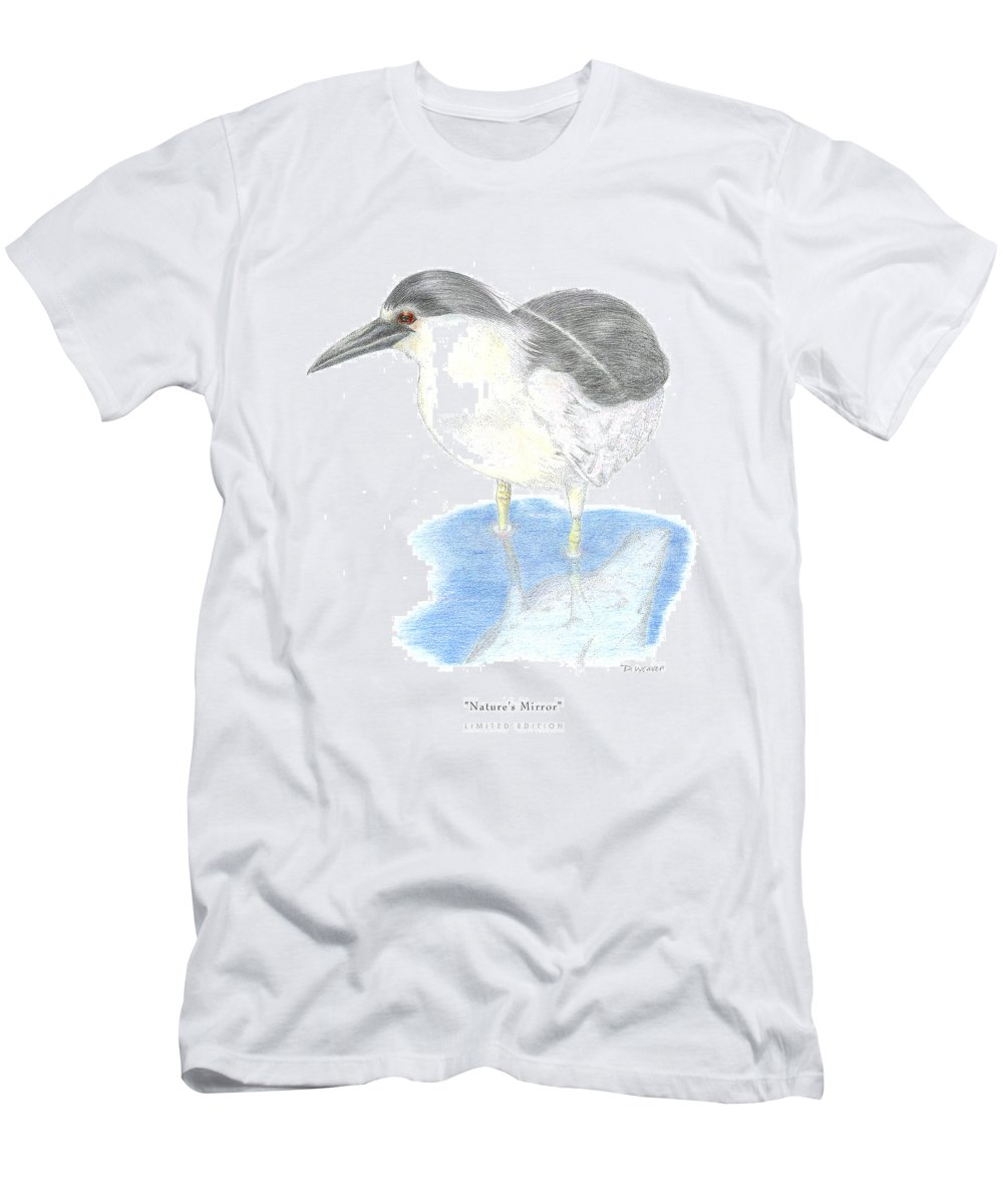 Black Heron In Water Men's T-Shirt (Athletic Fit) featuring the drawing Nature by David Weaver