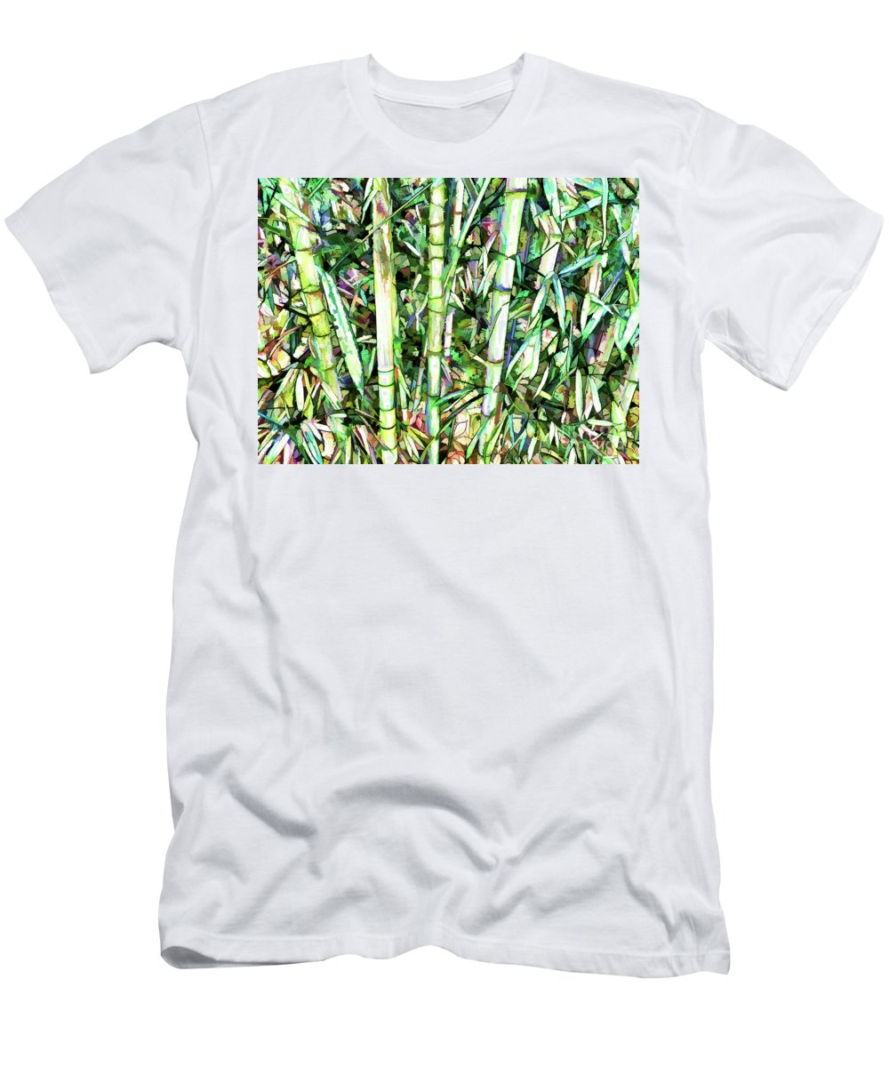 Art Of Bamboo Men's T-Shirt (Athletic Fit) featuring the painting Nature Green Background by Jeelan Clark