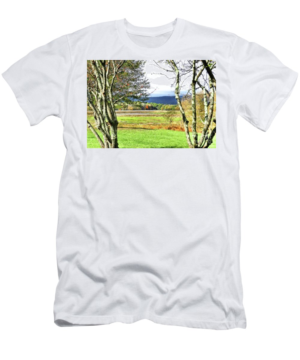 Lake Minsi Men's T-Shirt (Athletic Fit) featuring the photograph Nature Has Reclaimed The Lake by Carol A Commins