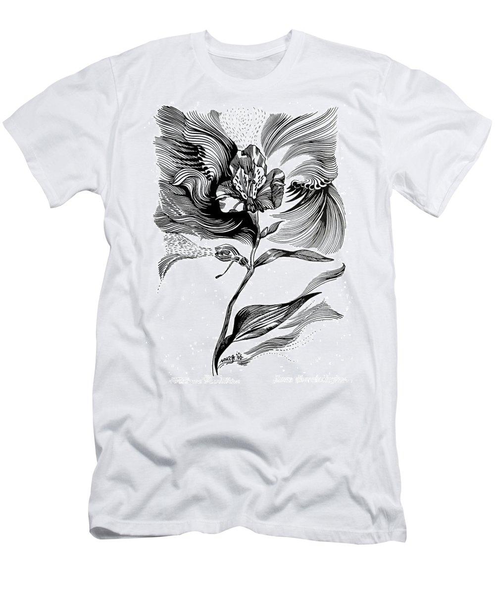Inga Vereshchagina Men's T-Shirt (Athletic Fit) featuring the drawing Nature's Waves by Inga Vereshchagina