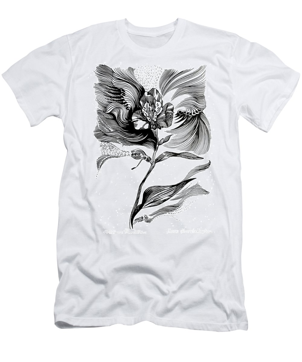 Inga Vereshchagina Men's T-Shirt (Athletic Fit) featuring the drawing Nature's Waves by Inga Vereshchagina