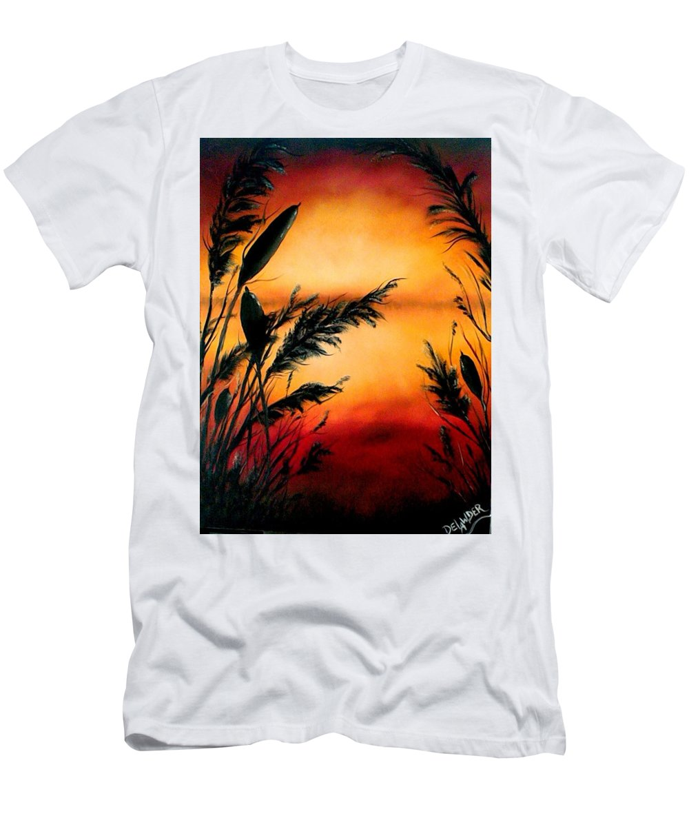 Landscape Men's T-Shirt (Athletic Fit) featuring the painting Nature's Whisper by Mary DeLawder