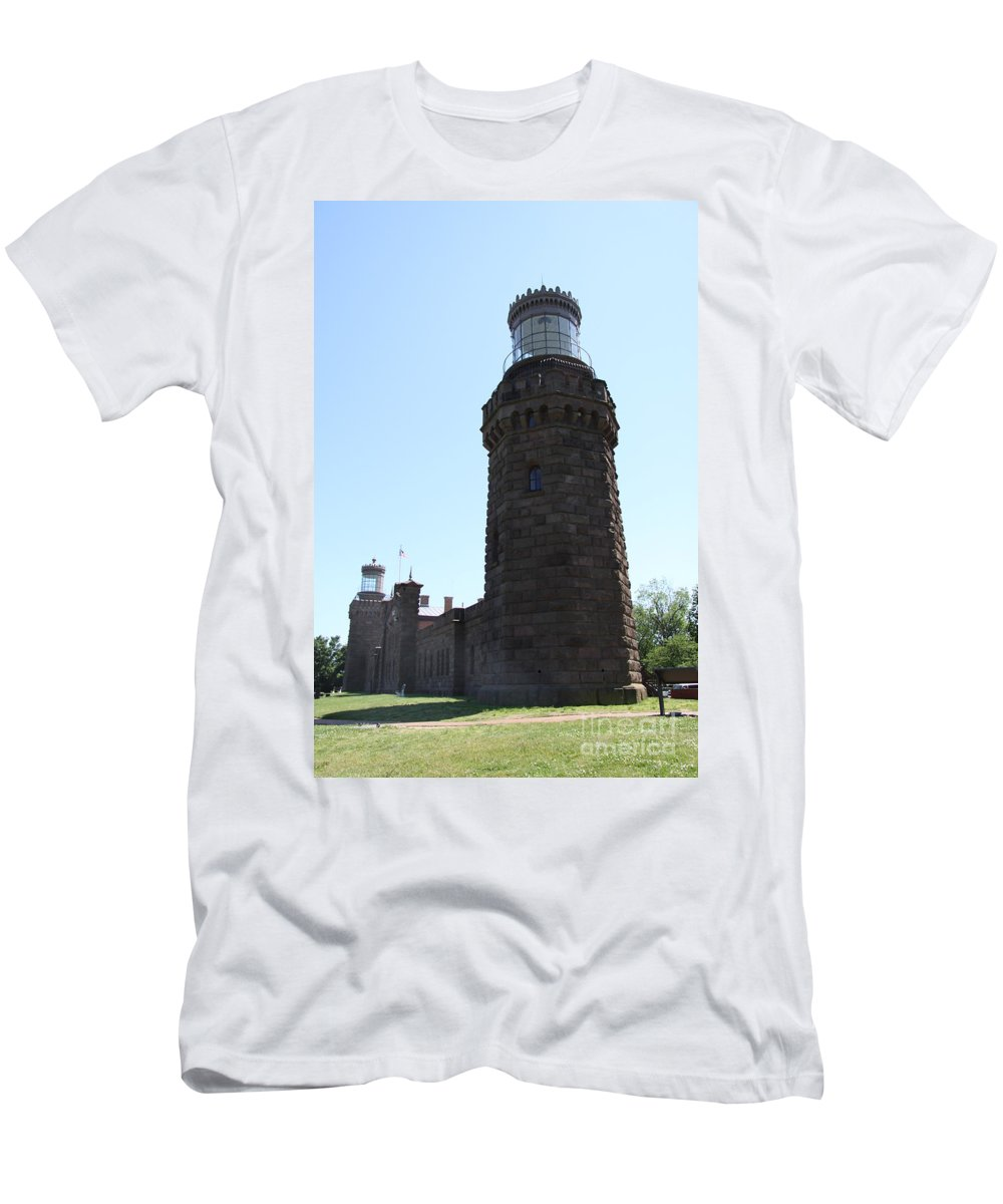 Navesink Twinlight Men's T-Shirt (Athletic Fit) featuring the photograph Navesink Twinlights by Christiane Schulze Art And Photography