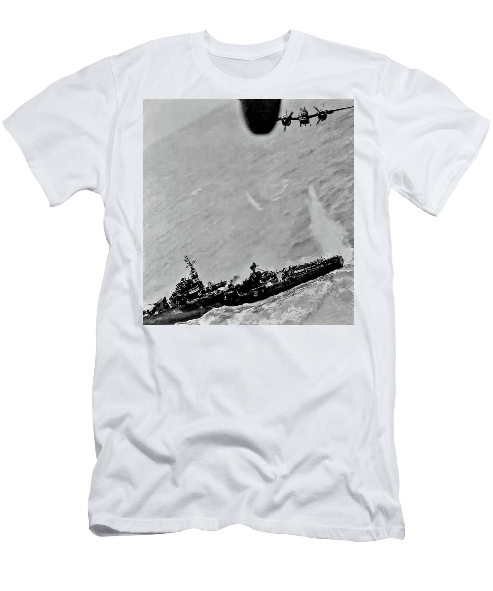 Ww Ii Men's T-Shirt (Athletic Fit) featuring the photograph Near Miss by Steve Harrington