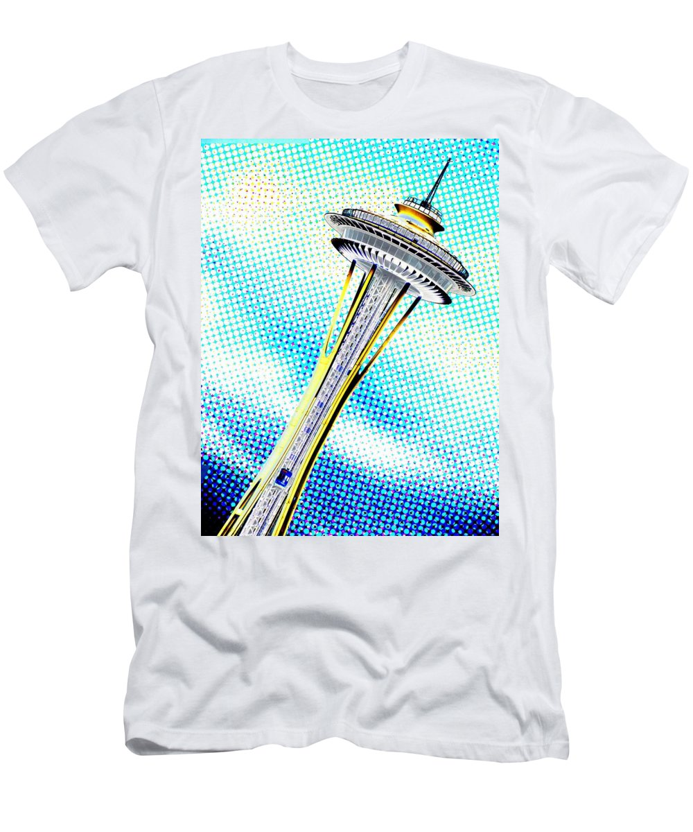 Seattle Men's T-Shirt (Athletic Fit) featuring the photograph Needle In Newsprint by Tim Allen