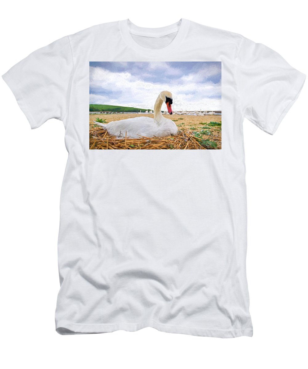 Mute Men's T-Shirt (Athletic Fit) featuring the photograph Nesting Mute Swan At Abbotsbury - Impressions by Susie Peek