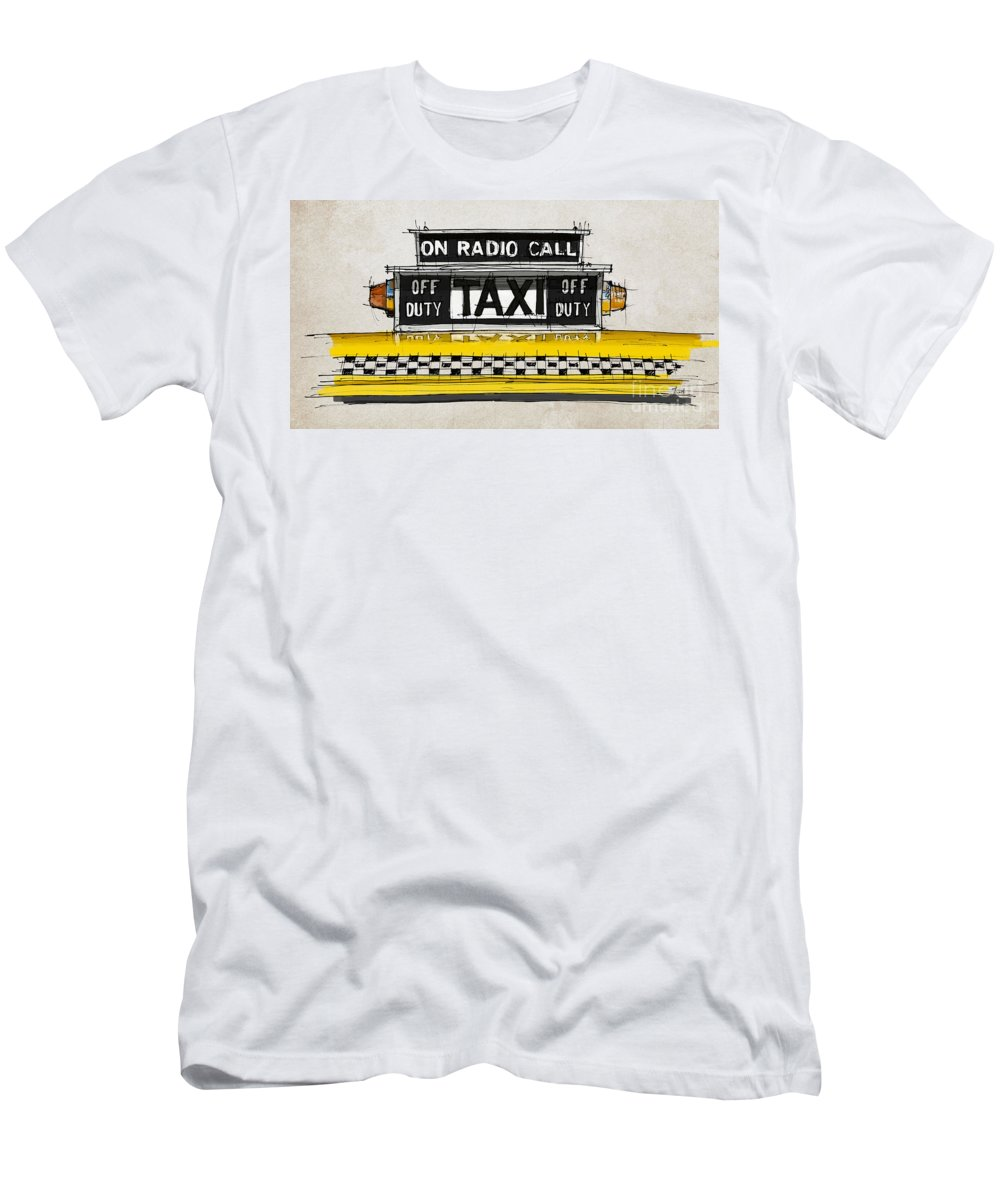 New York Taxi Sign Men's T-Shirt (Athletic Fit) featuring the painting New York Taxi Sign, Yellow Cab by Drawspots Illustrations
