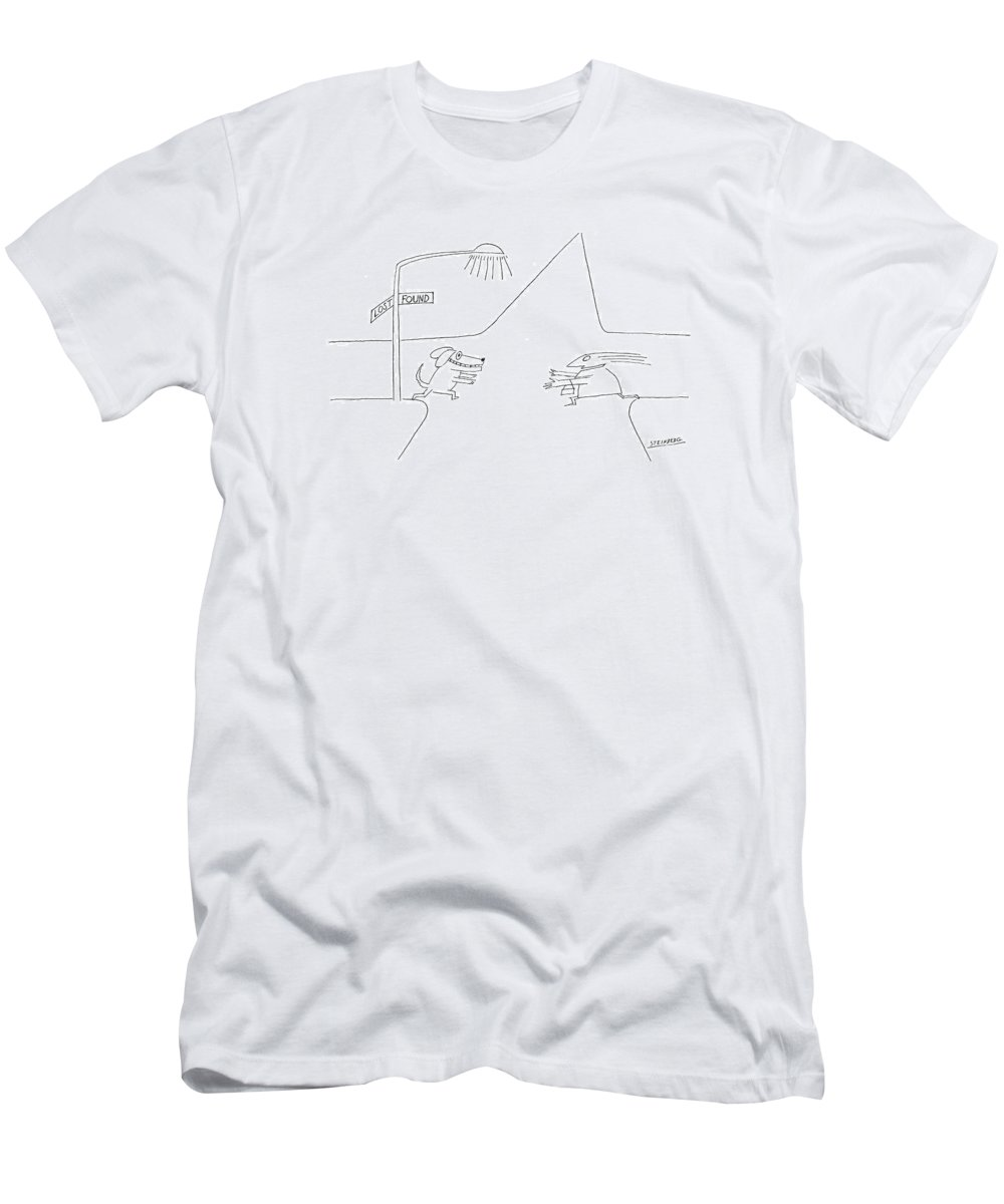 Dog T-Shirt featuring the drawing New Yorker January 12th 1976 by Saul Steinberg