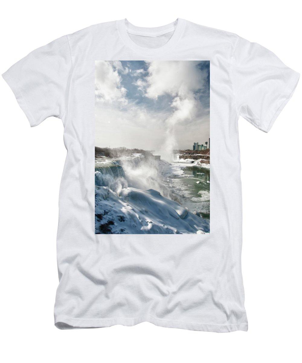 Niagara Falls Men's T-Shirt (Athletic Fit) featuring the photograph Niagara Falls 4601 by Guy Whiteley