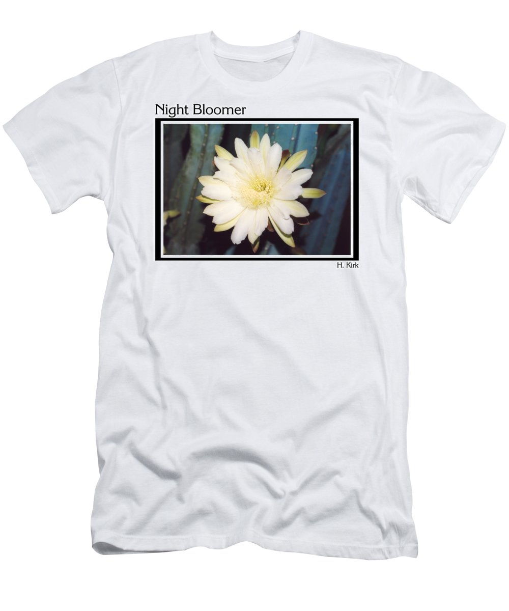 Night Bloomer Cereus Bloom White Green Organ Pipe Men's T-Shirt (Athletic Fit) featuring the photograph Night Bloomer Posters by Heather Kirk