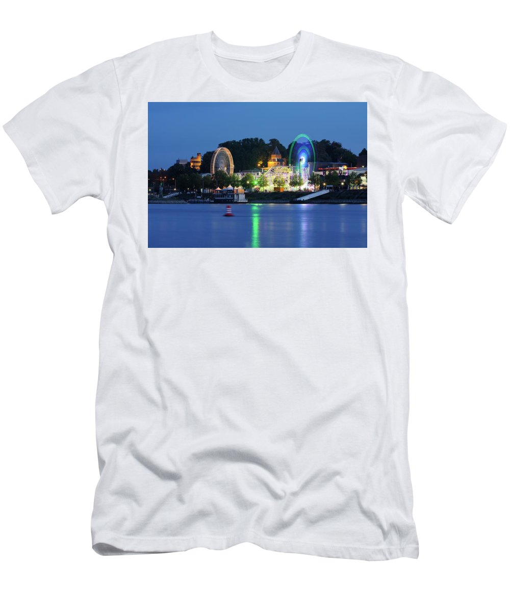 Nijmegen Men's T-Shirt (Athletic Fit) featuring the photograph Nijmegen Along The Waal River With A Fairground by Merijn Van der Vliet