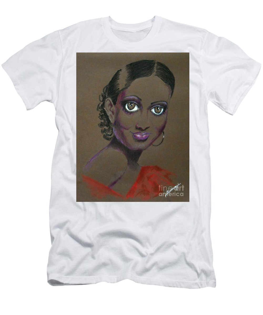 African-american Film Star Men's T-Shirt (Athletic Fit) featuring the drawing Nina Mae -- African-american Actress Portrait by Jayne Somogy