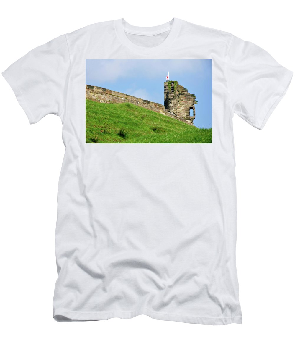 Bright Men's T-Shirt (Athletic Fit) featuring the photograph North Tower- Tutbury Castle by Rod Johnson
