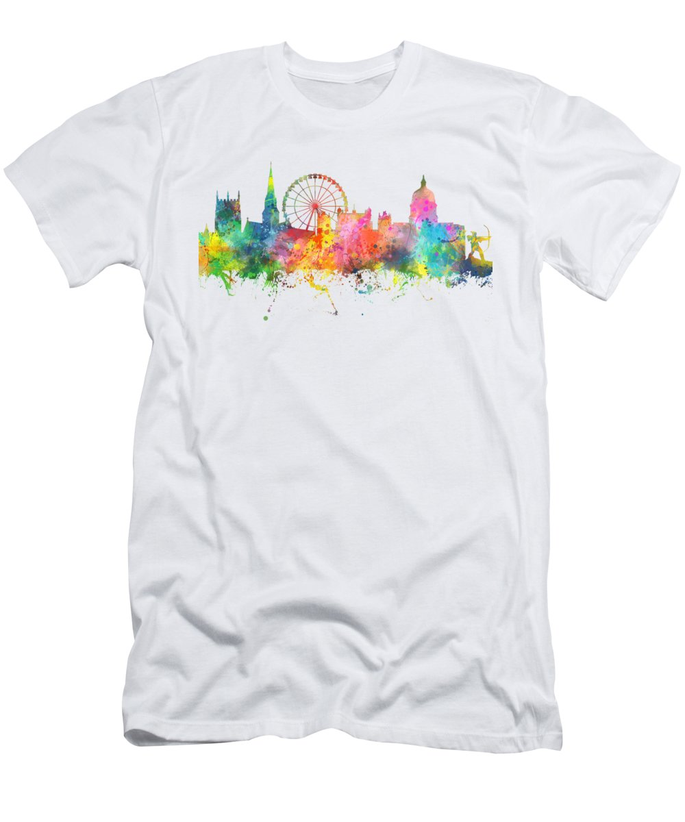 Nottingham England Skyline Men's T-Shirt (Athletic Fit) featuring the digital art Nottingham England Skyline by Marlene Watson
