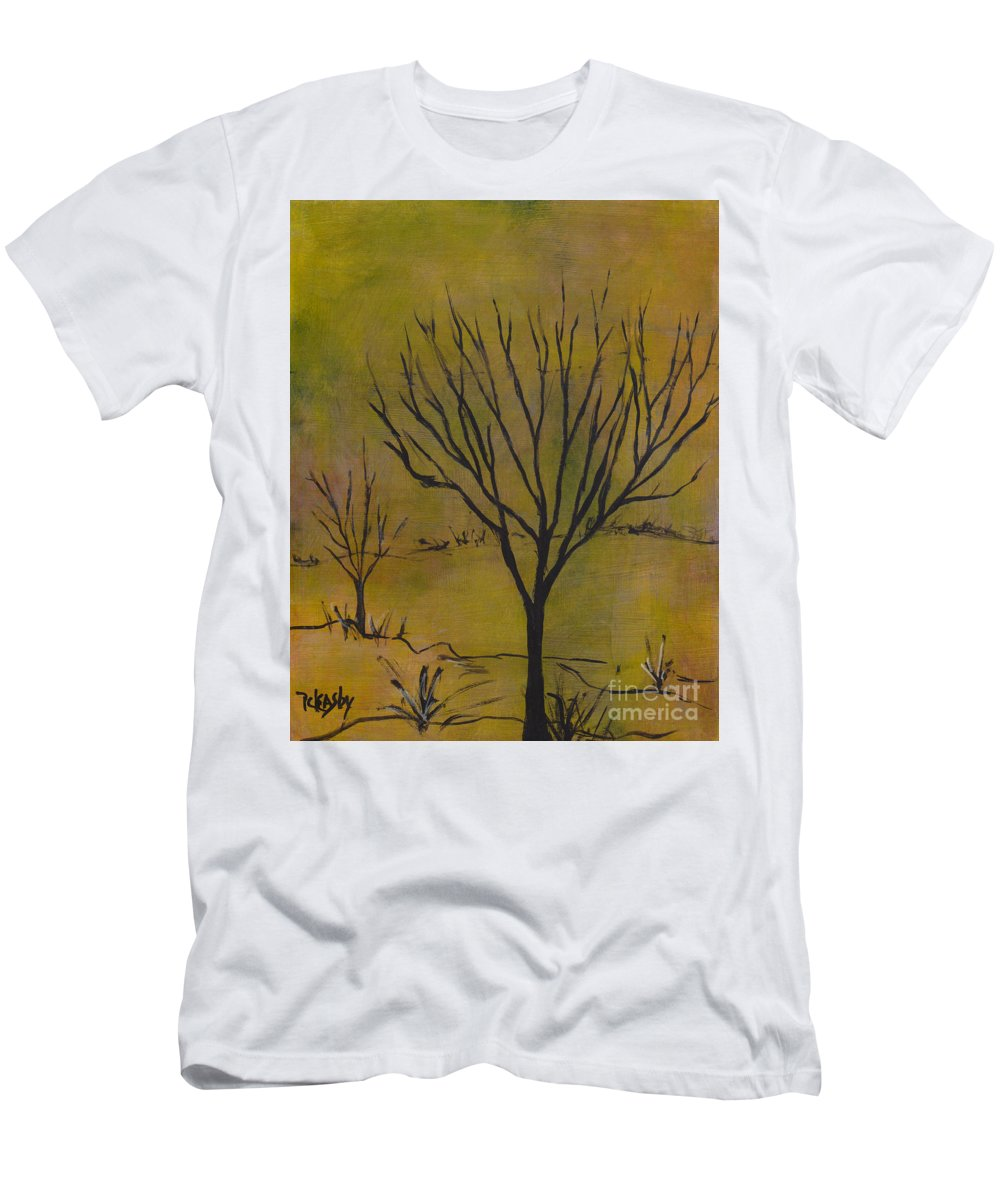 Tree Men's T-Shirt (Athletic Fit) featuring the painting November Tree by Patricia Cleasby