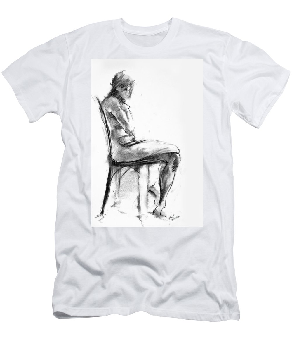 Nude Men's T-Shirt (Athletic Fit) featuring the drawing Nude 1 by Ani Gallery
