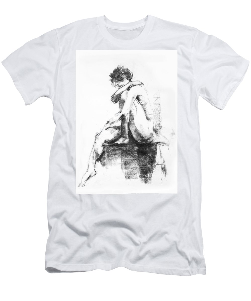Nude Men's T-Shirt (Athletic Fit) featuring the drawing Nude 11 by Ani Gallery