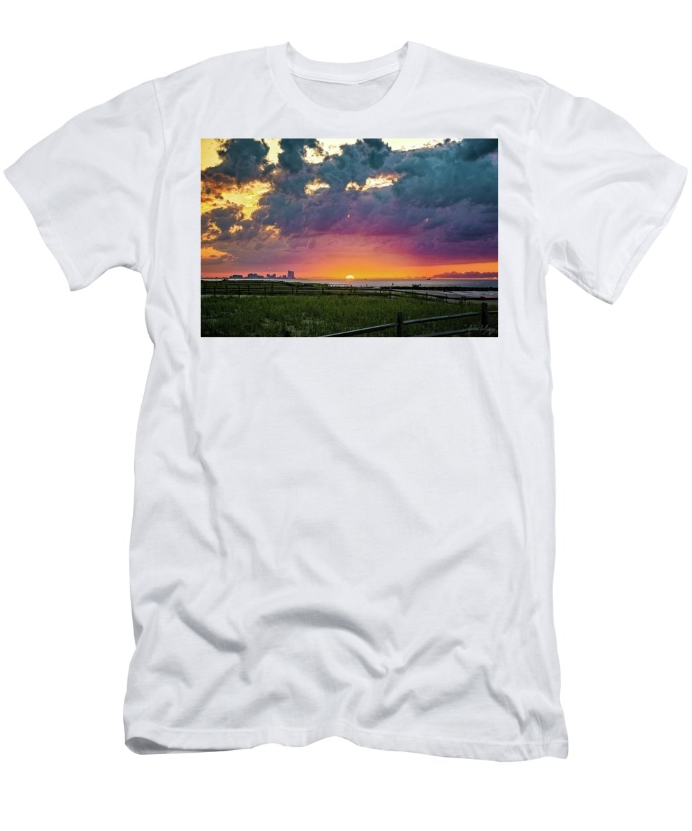 J. Zaring Men's T-Shirt (Athletic Fit) featuring the photograph Ocean City Cloudy Sunrise by Joshua Zaring