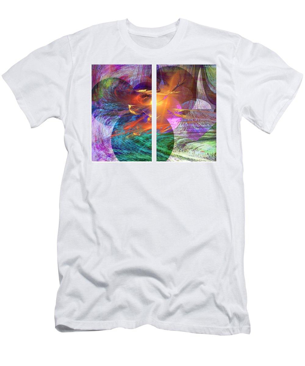 Ocean Fire Men's T-Shirt (Athletic Fit) featuring the digital art Ocean Fire by John Beck