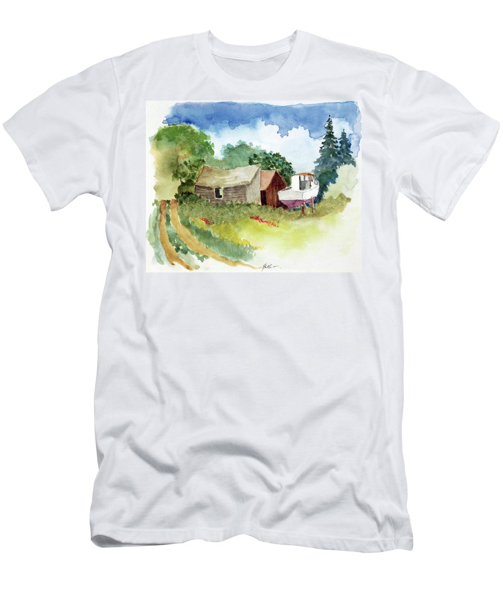 Marine Men's T-Shirt (Athletic Fit) featuring the painting Off Season by John Crowther