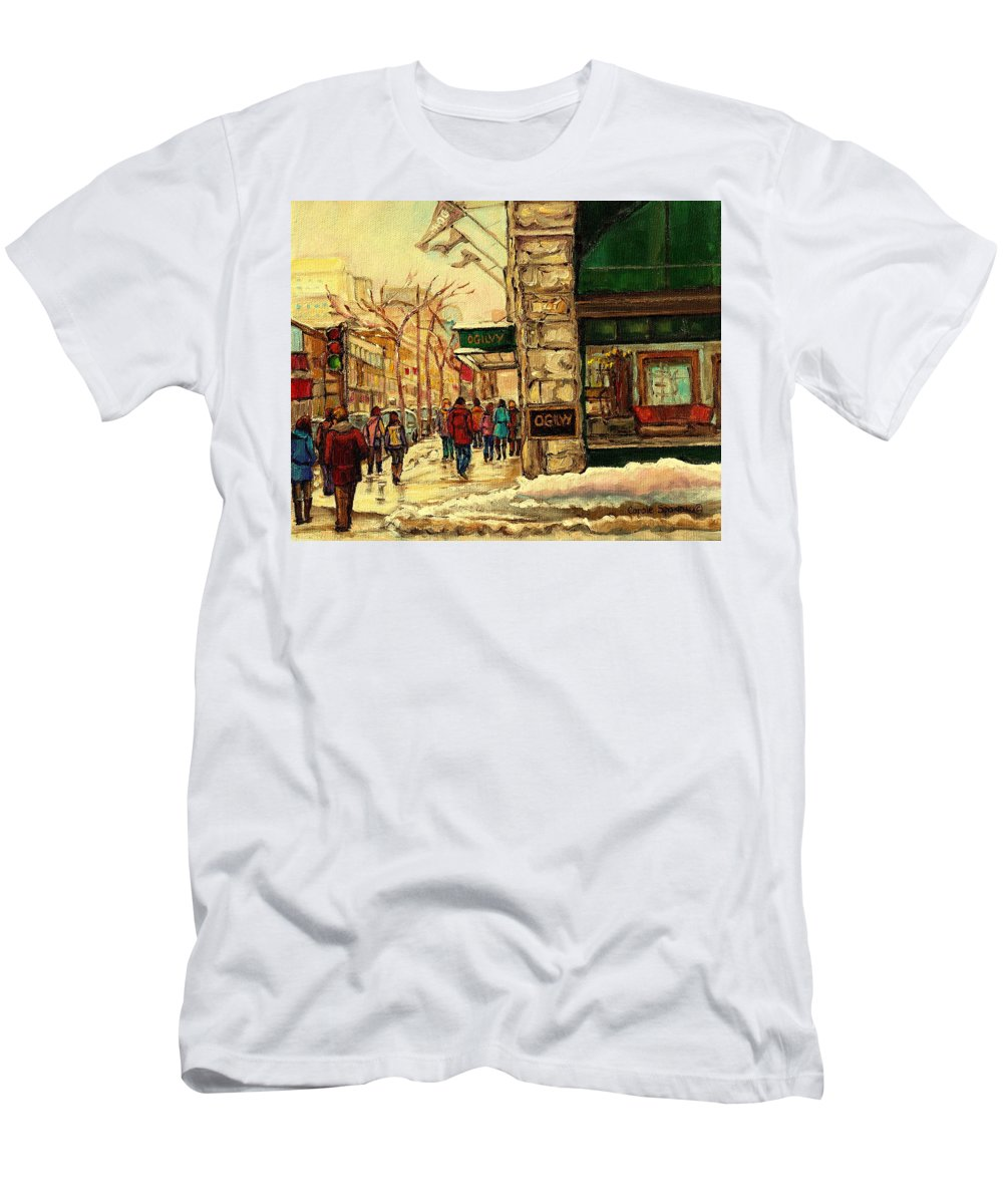 Ogilvys Department Store T-Shirt featuring the painting Ogilvys Department Store Downtown Montreal by Carole Spandau